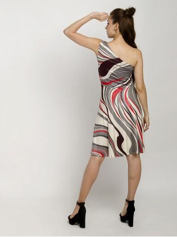 Alable Elegantly One Shoulder Skater Mini Dress
