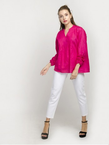 Magenta Mandarin-Collar Gathered-Sleeve Top