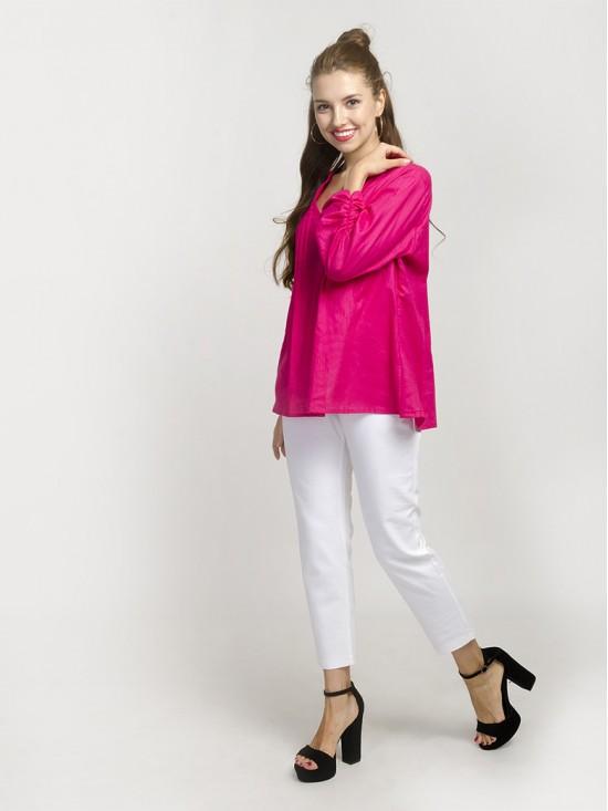 Magenta Mandarin-Collar Gathered-Sleeve Top