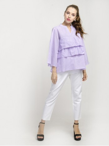 Ruffle Front Full Sleeve Top