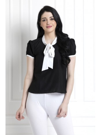 Monochrome Top with Pussy Bow
