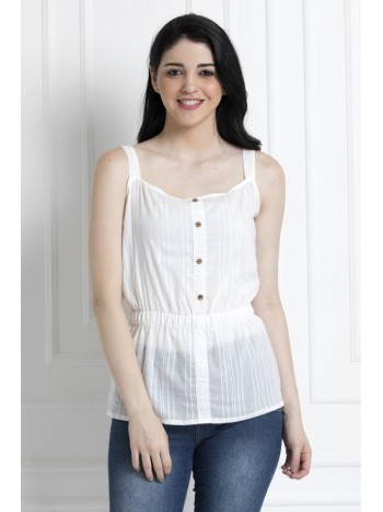 Spaghetti Style Cinched Waist Top in 100% Cotton