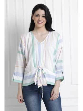 V-Neck Multi Stripe Front Knot Top