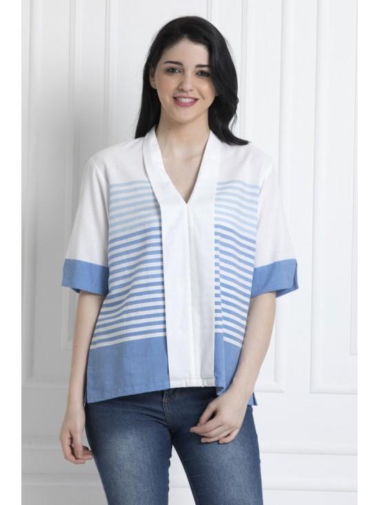 V-Neck White Front panel Stripe Top in Soft organic Cotton