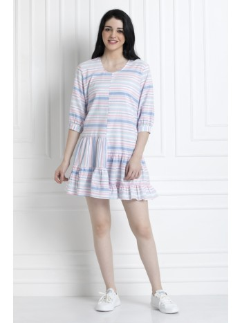 Dress with High & Low Gathered Hem