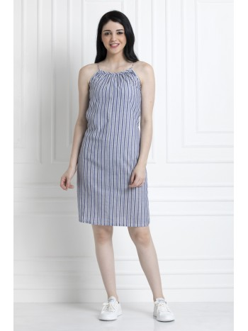 Spaghetti Style Striped Knee Length Dress in Soft Cotton