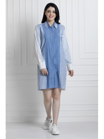 Buttoned Down Shirt Dress In Sustainable Fabric