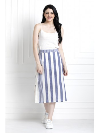 Mid length Stripped, Skirt in Organic Cotton