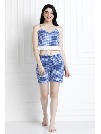 Checkered Print Spaghetti Top With Ruffle Hem And Chekered Shorts