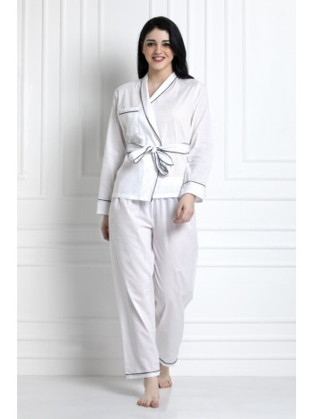 Full Sleeves Wrap Top With Belt & Pyjamas