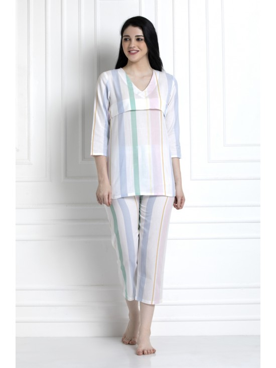 V-Neck, Striped Top With Pyjamas. For That Super Cool Feel