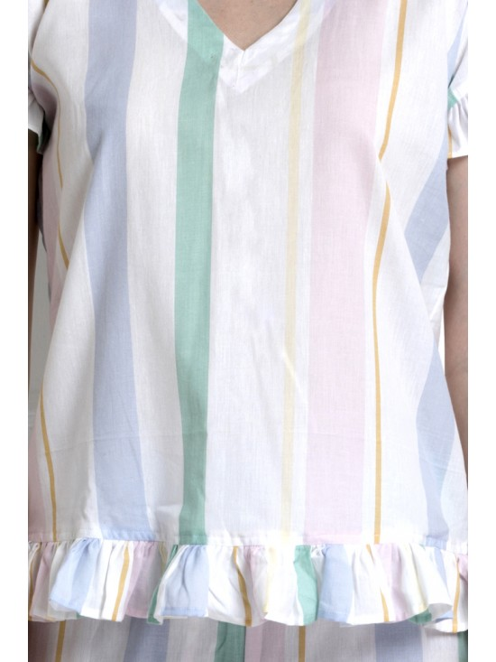 V-Neck Top With Down Ruffle Hem & Pyjamas