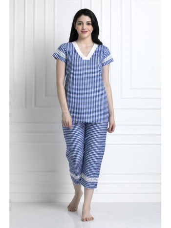 Check Top & Pyjamas With Lace Trim. Super Stylish Yet Relaxed