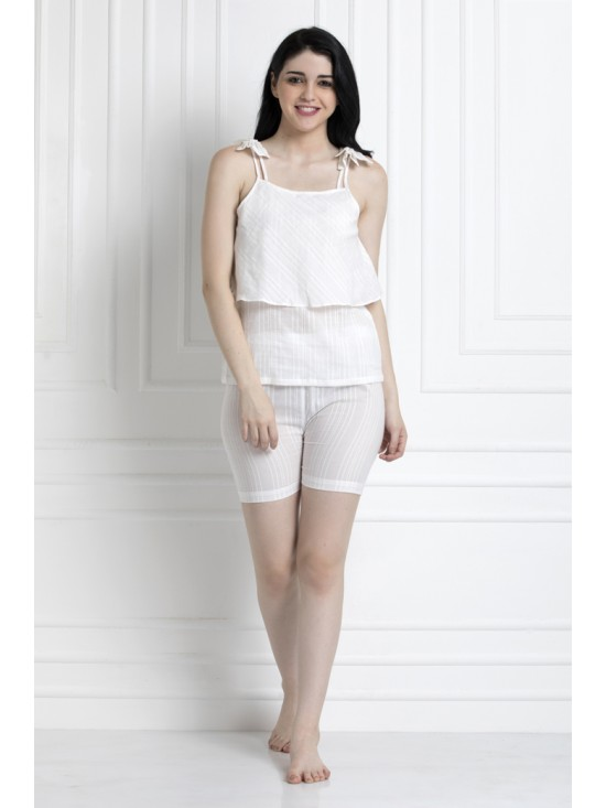 Tier Top With Shorts In Soft Cotton Textured Fabric