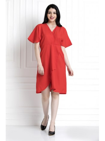 V-Neck , Elbow Sleeve Dress
