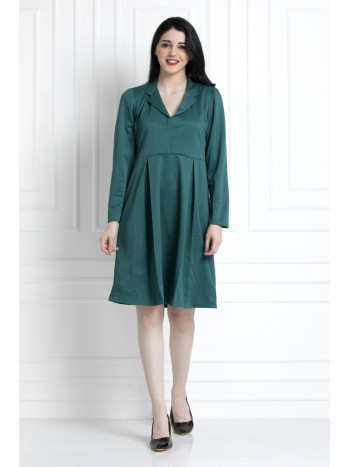 Emerald Green Coat Style Collar, Pleated Dress, For That Elegant Day To Evening Dressing