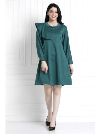 Emerald Green Textured Dress With Ruffle Trim Shoulder