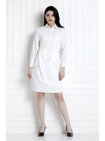 Collared Shirt Dress With Below The Waist Ruching