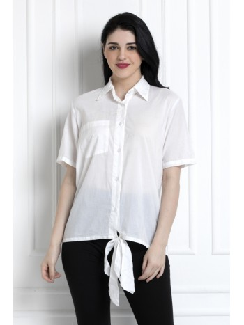 Collared Buttoned Down Shirt With Front Knot