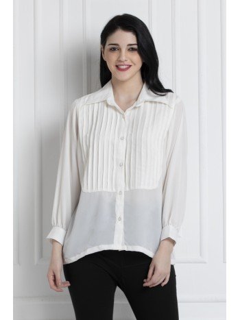 Collared Button Down Shirt With Pintucks