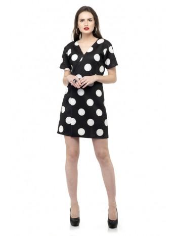 Black large polka dot jacket dress