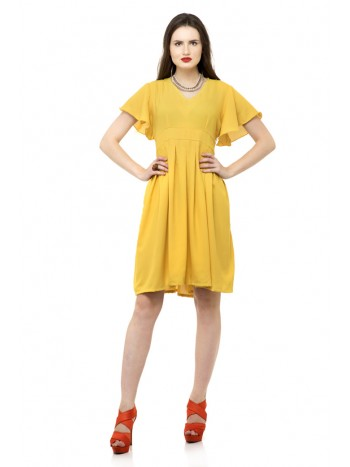 Yellow ruffle sleeve one piece dress with ruffle hem