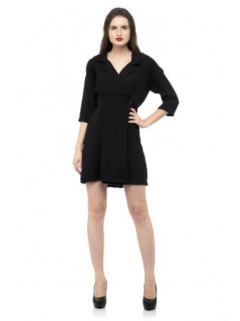 Black color long collars mini dress