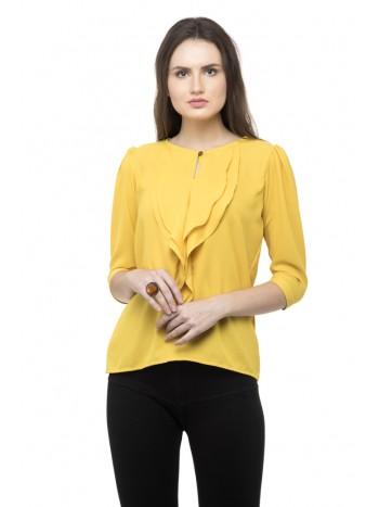 Yellow plain flared ruffle top