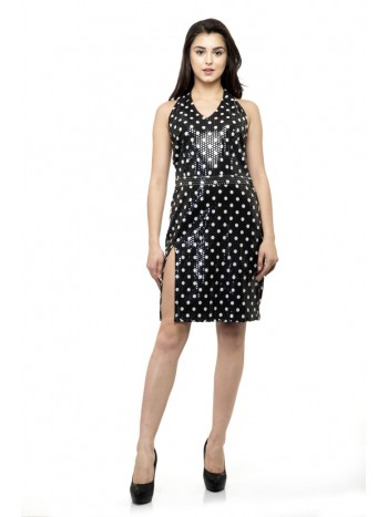 Deep back black polka dots sleeveless dress