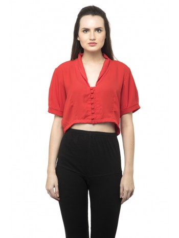Front button high size red tee