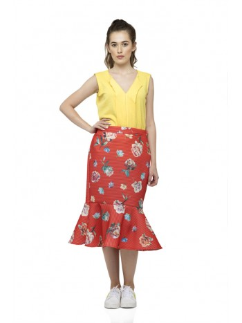 Flared vertical belt design sleeveless yellow top