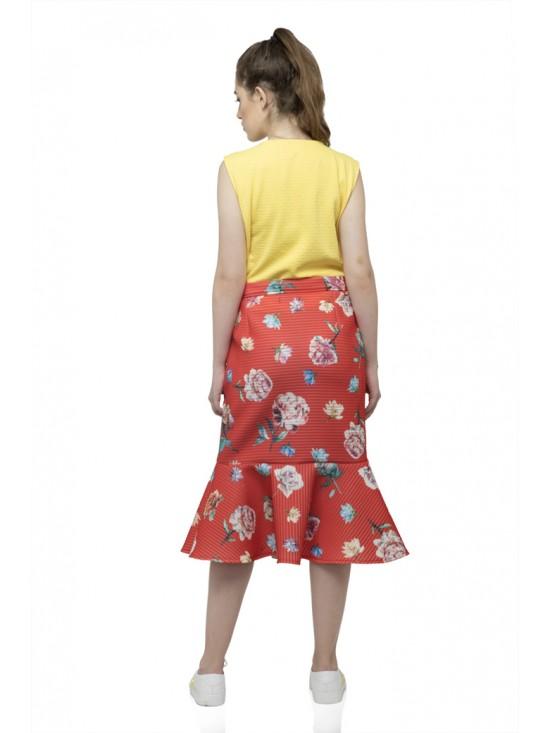 Flared vertical belt design sleeveless yellow top