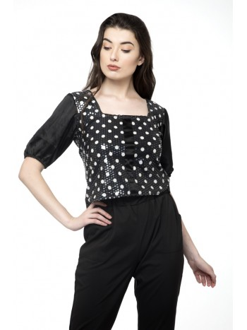 Balloon sleeve polka dot metallic crop top
