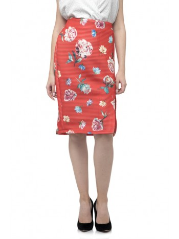 Flower Print Split Midi Skirt