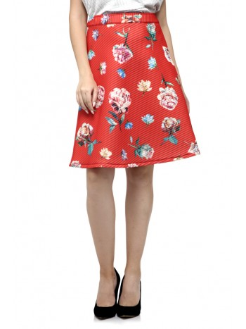 Simple Flowers Printed Skirt