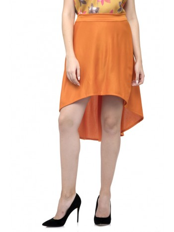 Plain Orange Asymmetric Skirt