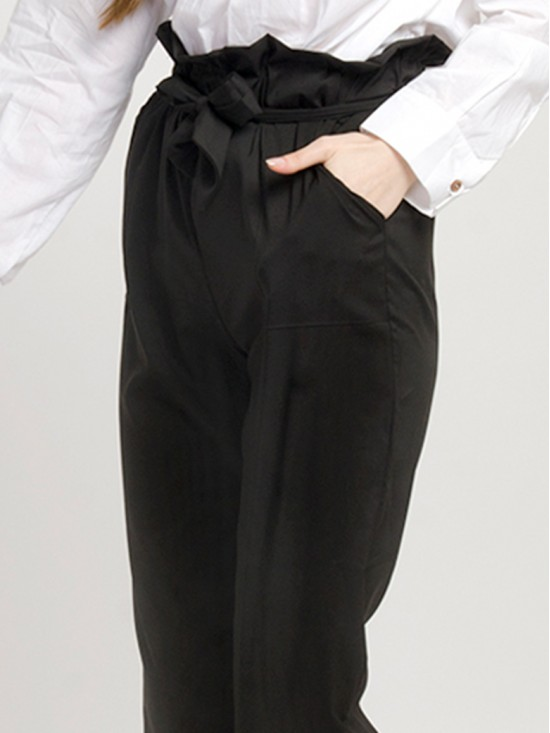 Womens Black Paper-Bag Pants
